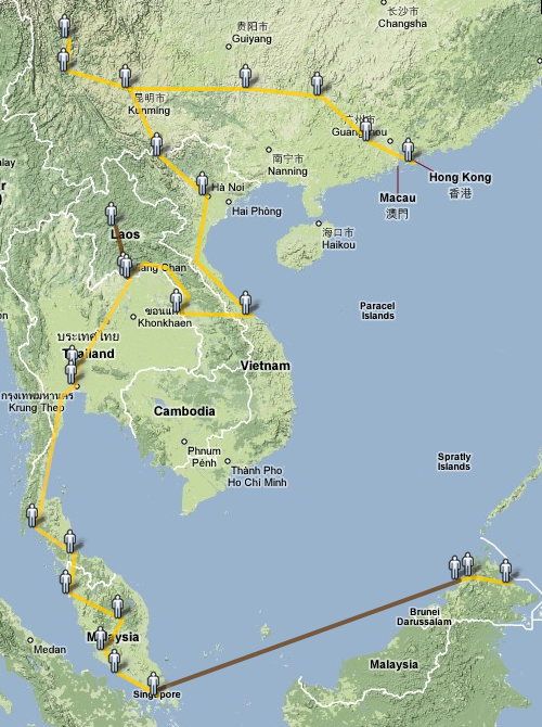 South East Asia Trip 1996 route map